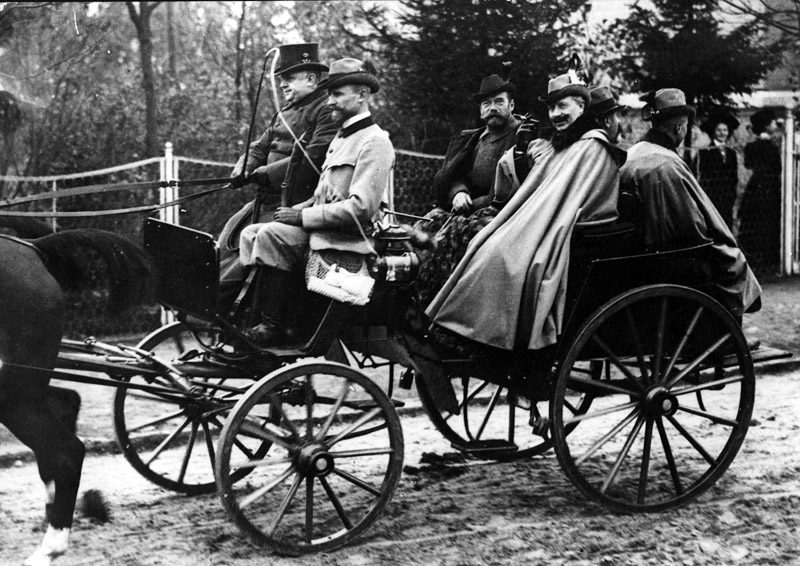 Kaiser Wilhelm II of Germany riding through the streets of Berlin with Tsar Nicholas II of Russia in 1900