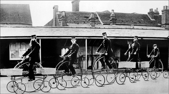 Postmen Riding Pentacycles, ca. 1882