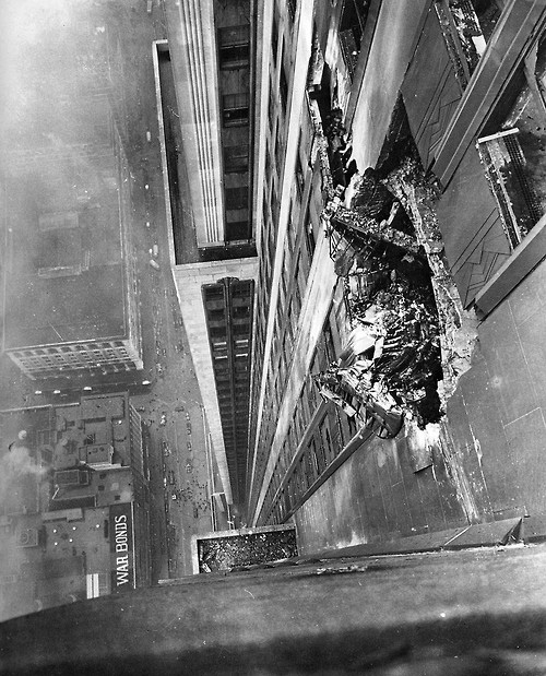 The hole in the Empire State Building after a B-25 bomber crashed into it on July 28, 1945
