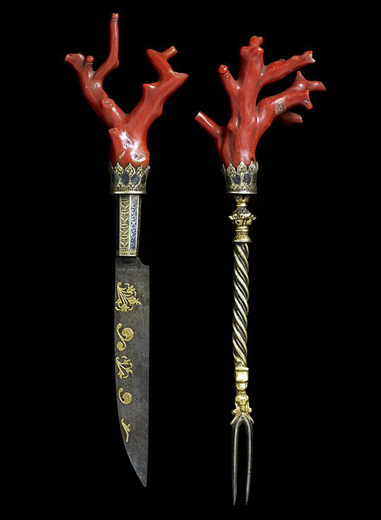 Cutlery set with coral, made in Italy in the late 16th century
