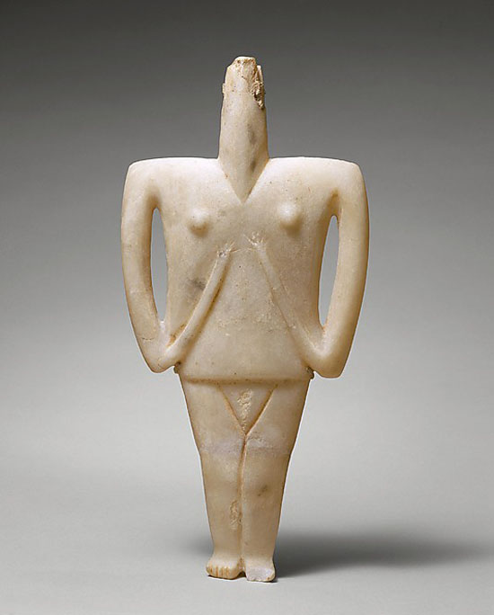 Marble figure of a woman  Cycladic Period, early cycladic, 2300-2200 BC.