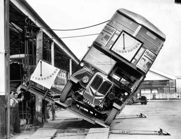 Makers of the London double decker bus prove that they weren't a tipping hazard