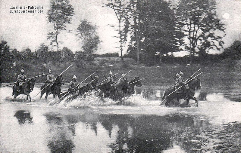 German Calvary cross the Meuse in August 1914