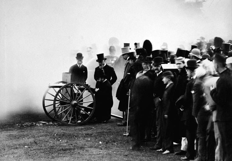 The Prince of Wales firing the last shot at a National Rifle Association meeting on Wimbledon Common with a Maxim machine gun, London, 1888.