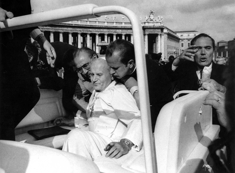 Pope John Paul II Moments after being shot, May 13, 1981.