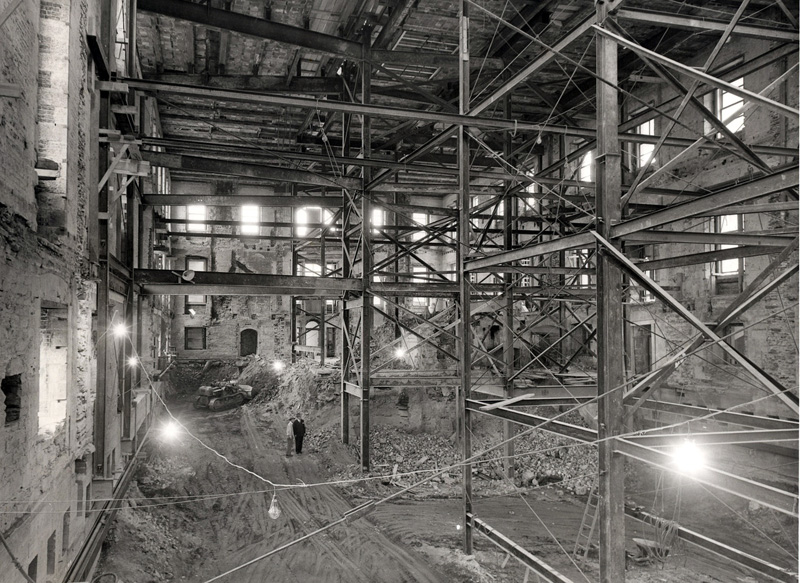 The interior of the White House during renovations in 1950