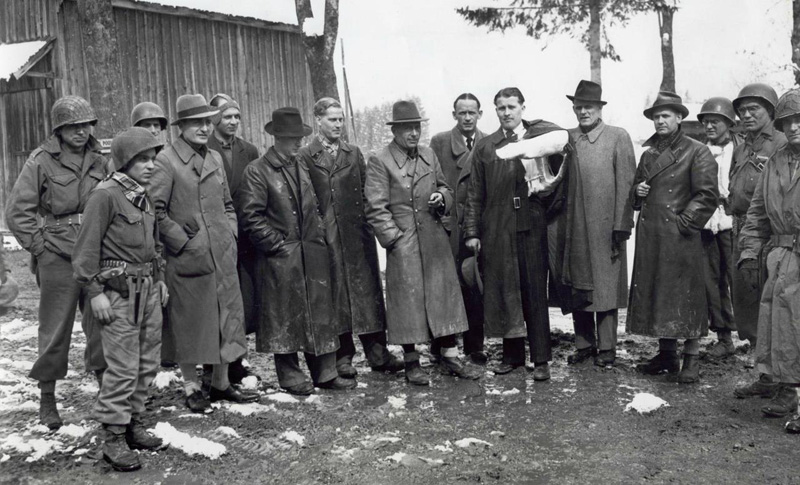 "Rocket designer Wernher von Braun and some colleagues who have designed the ""Vergeltungswaffe 2"", surrenders to troops of the American 44th Infantry Division at Oberjoch, Germany ,May 1945."
