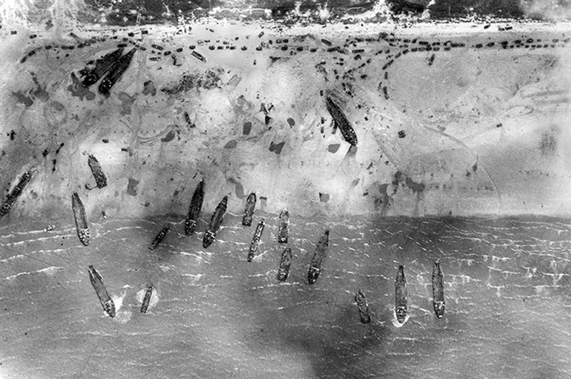 An aerial view of Sword Beach on D-Day, 1944