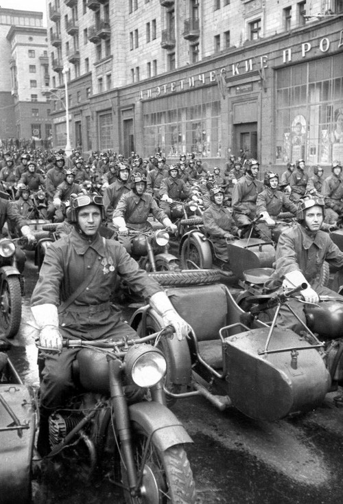 Russian Motorcycle Parade 1940s