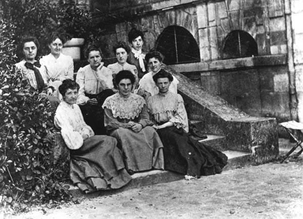 Marie Curie and her students of the Ecole Normale Superieure of young girls in Sèvres in 1903