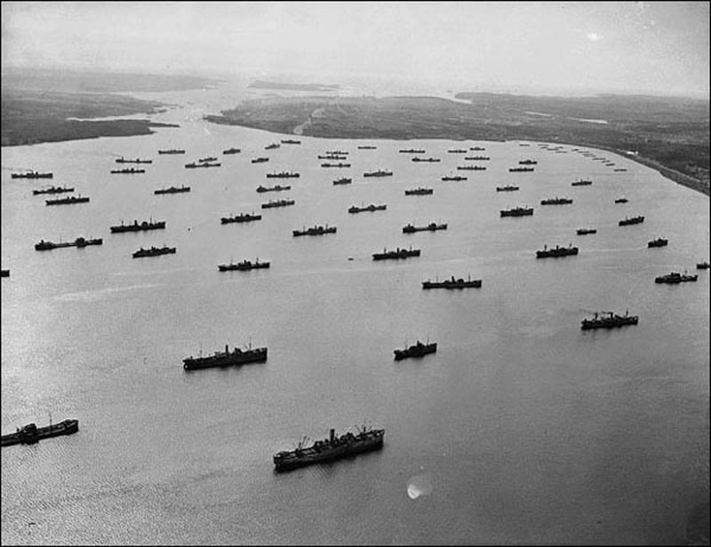 Convoy being formed before sailing across the Atlantic. Bedford Basin , Nova Scotia. 1942