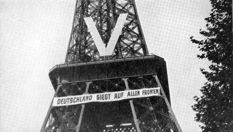 Germany is victorious on all fronts. The Eiffel Tower during the Nazi occupation, 1940.