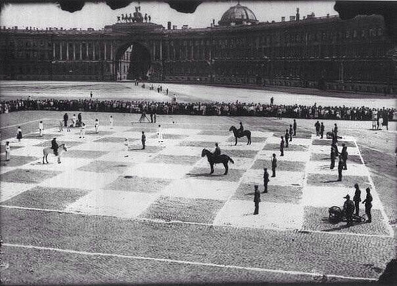 Human chess in 1924, St. Petersburg, Russia