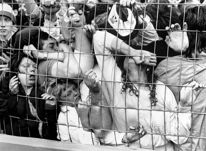 Fans being crushed against the fence in the Liverpool enclosure at the Hillsborough Stadium in Sheffield, England, 15 April 1989. 96 were killed and 766 injured