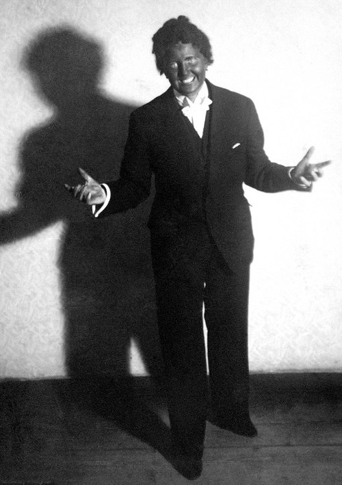 Hitler's mistress Eva Braun in blackface as Al Jolson, 1937