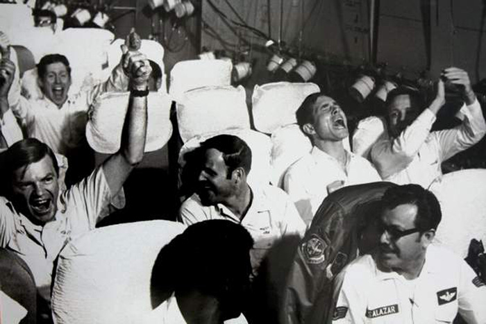 Vietnam POWs going home, March 28, 1973