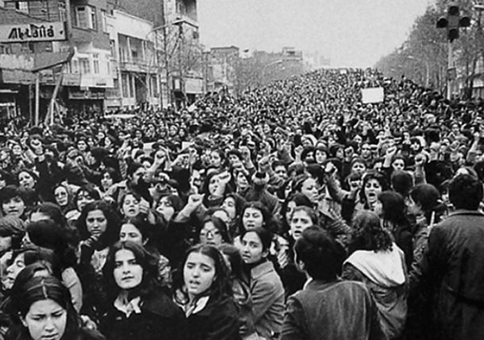 Women protesting the forced Hijab in Iran, days after the 1979 Revolution
