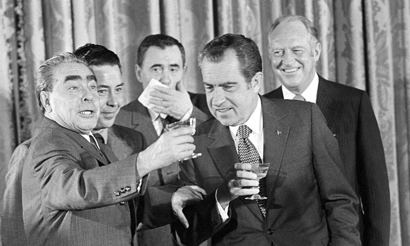 Leonid Brezhnev proposes a toast with President Nixon, Russian foreign minister Andrei Gromyko and Secretary of State William F. Rogers at the State Department in Washington, June 1973