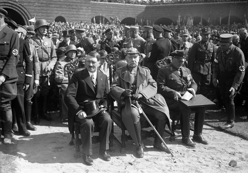 Reich Chancellor Adolf Hitler, President Paul Von Hindenburg and minister Hermann Goering attend the Tannenburg Memorial Parade in East Prussia to commemorate Hindenburg's victory over Russian forces in 1914, August 27th 1933