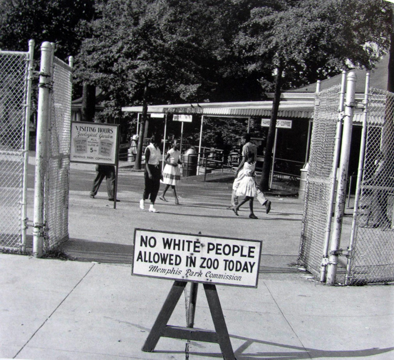 "Sign placed in front of the Memphis Zoo on Thursday, ""Negro day"", the only day of the week that African Americans were allowed to visit, 1959"