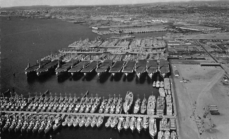 The San Diego mothball fleet in 1946