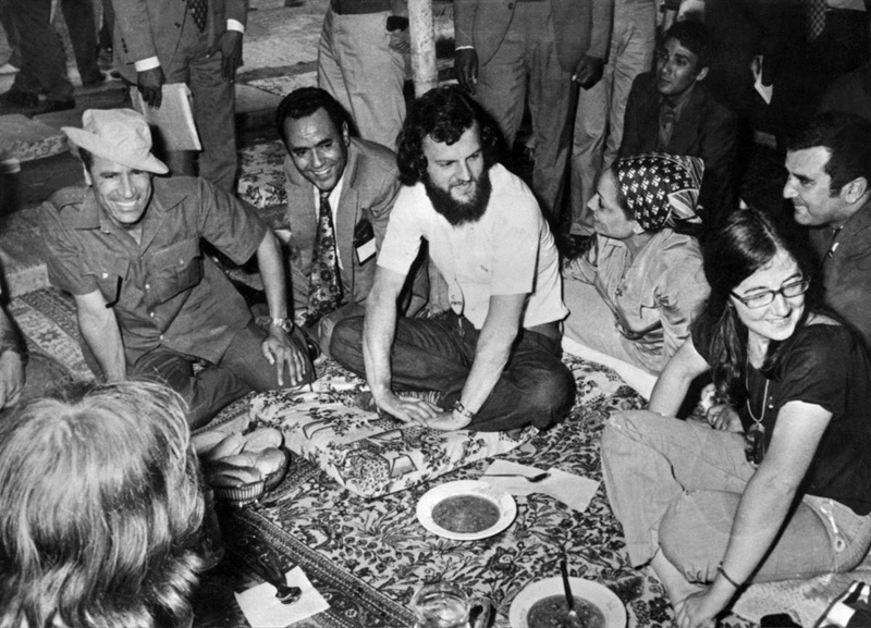 "Youg Colonel Muammar Gaddafi with British ""hippies"". At that time, Gaddafi was seen by some to be the ""African Che Guevara"" Libya 1973"