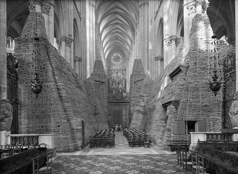 The cathedral of Amiens, France during World War II