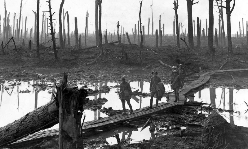 WWI --- Australian soldiers in a forest destroyed by war (Battle of Passchendaele - Belgium - October 29th 1917