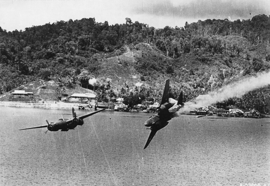 Douglas A-20G Bevo crashes into the sea during a bombing run, Kokas, Dutch New Guinea, July 22 1944.