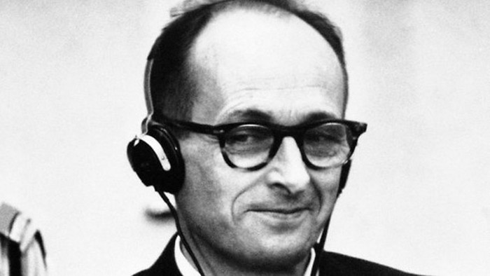 Adolf Eichmann on trial, sentenced to death for crimes against humanity, 15 December 1961