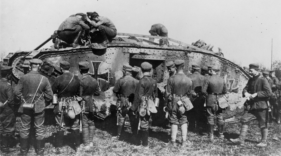 WWI --- German soldiers with a captured British tank