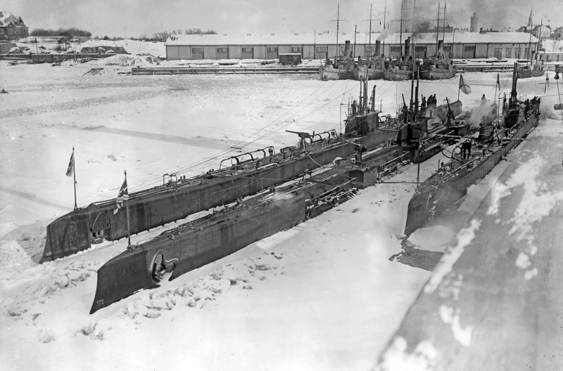 mperial Russian submarines Volk (Wolf) and Bars (Snow Leopard) iced in at Reval, 1916.