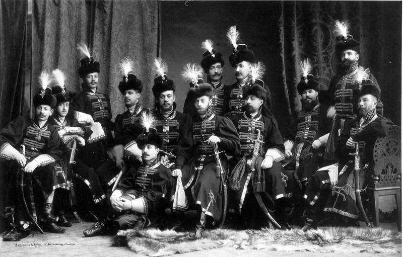 Officers of the Preobrazhenski Regiment, the oldest russian regiment and part of the russian Imperial Guard, 1903