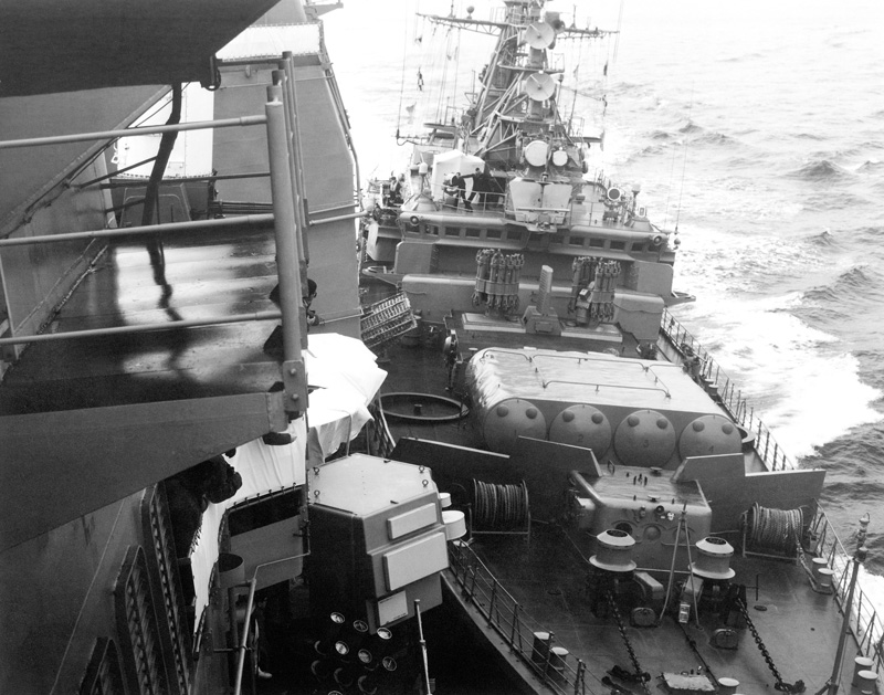 On 12 February 1988, the U.S. Navy cruiser USS Yorktown getting rammed by the Soviet frigate Bezzavetniy