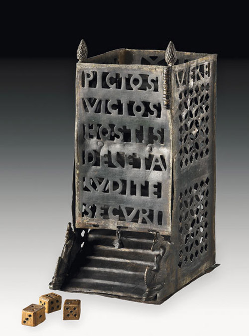 Ancient roman dice tower used in the playing of dice games. 4th century AD, found in Germany