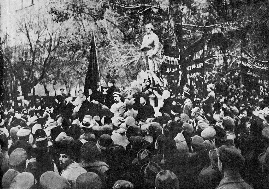 Robespierre Monument being unveiled in Moscow, Russian SFSR, 3rd November 1918. It would collapse three days later due to lack of proper building materials caused by the civil war.