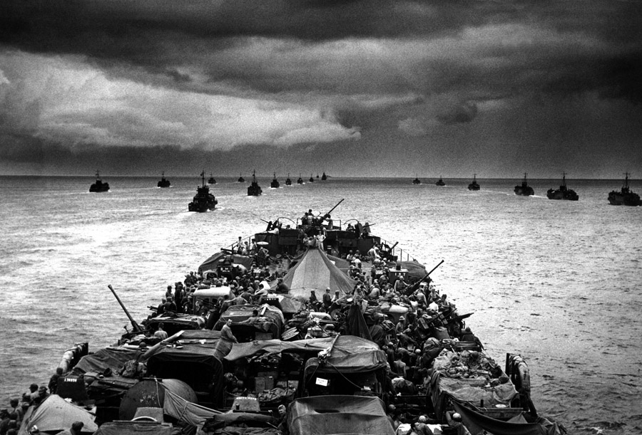 WWII --- U.S. convoy of LST (Landing Ship - Tank) and LCI (Landing Craft - Infantry) en route to Sansapor, New Guinea (June 1944