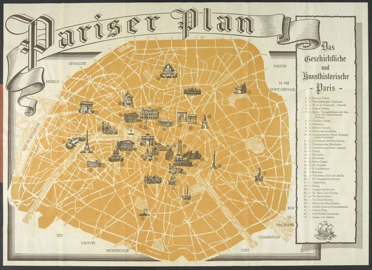 Tourist Map of Occupied Paris, for German Soldiers During WWII