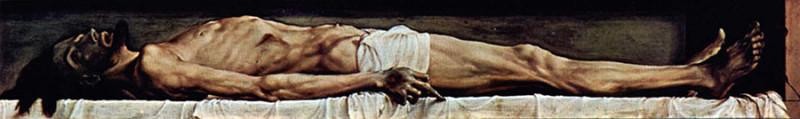 Ганс Гольбейн Младший. Мёртвый Христос в гробу. 1521—1522Холст, масло. 30,5 × 200 см. Художественный музей, Базель, Швейцария.