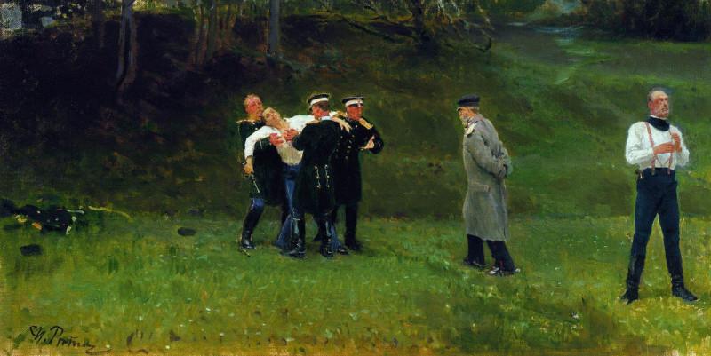 Репин И.Е. Дуэль. 1896. Холст, масло. 52×104 см. Государственная Третьяковская галерея, Москва.
