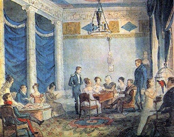 Неизвестный художник. Гостиная Олениных в петербургском доме. 1820-е гг..jpg