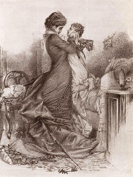 Врубель М.А. Свидание Анны Карениной с сыном. 1878, тушь, сепия, перо, бумага коричневая, 39×33 см. Государственная Третьяковская галерея, Москва.