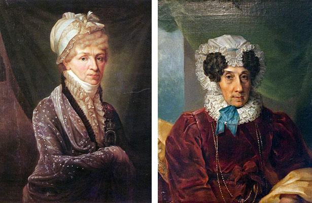 Слева: Голицина Н.П. (художник Н.П. Митуар), 1810. Справа Загряжская Н.К. (неизв. художник, 1820)