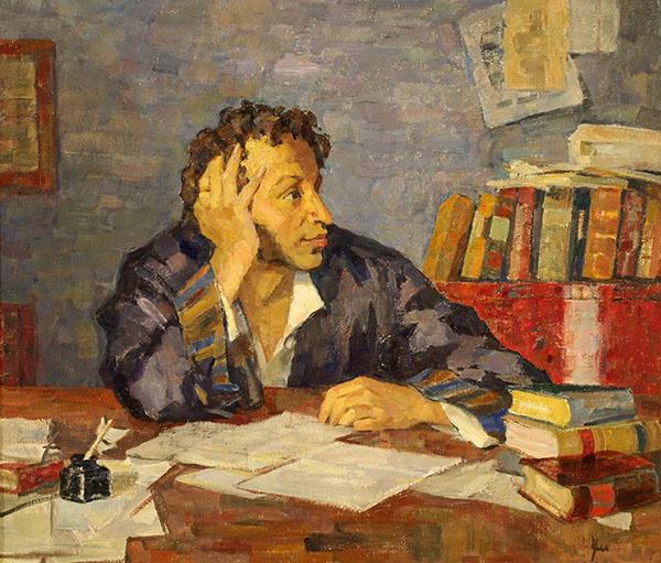 Ульянов Н.П.  Пушкин за рабочим столом. 1936-1937-е гг. Холст, масло