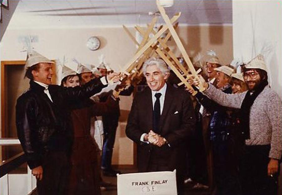 Frank Finlay receiving CBE