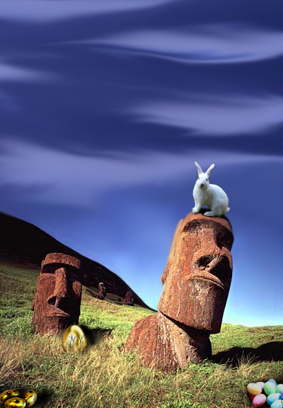 Ester Is heads wity Easter bunny sitting on one and easter eggs in grass
