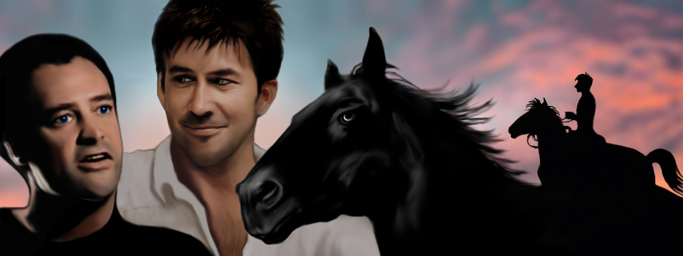 Rodney and John portrait with the head of a black stallion, and beside that, dawn scene with John silhouetted on Atlantis