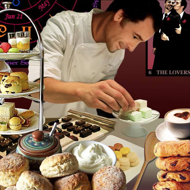 Harry Dresden creating pastries and cakes in bakery, wiccan posters on wall behind - full size and with no text or framing