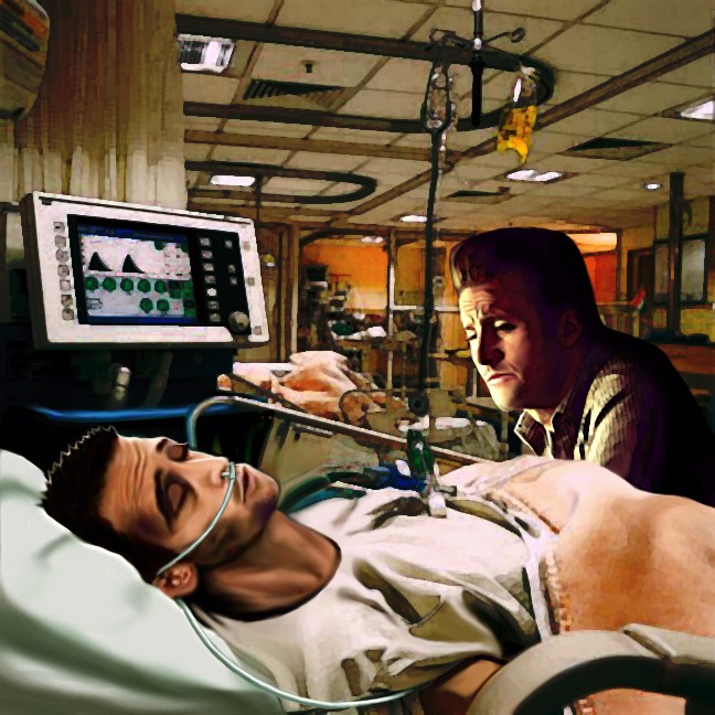 Danno sitting by Steve's ICU bed, looking concerned. Steve's sleeping and his face is bruised.