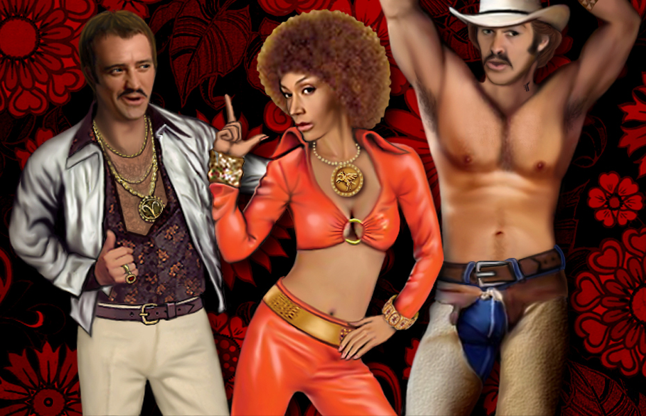 Rodney, Teyla and Ronon in Seventies pornstar outfits